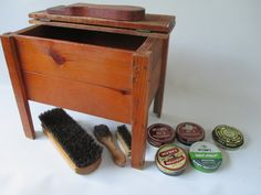 Shoe Shine Stand Vintage Wooden Box Shoe Polish by HobbitHouse