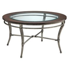 Wrought Iron And Wood Round Coffee Table