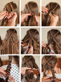 Идея перекрещенных кос для длинных волос - пошагово