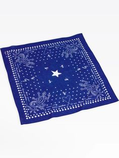 blue bandana - US - front view Bandana Print, Logos, Cotton Fabric, Jewelry Accessories, Outdoor Blanket, Symbols, Prints, How To Make, Spring Summer