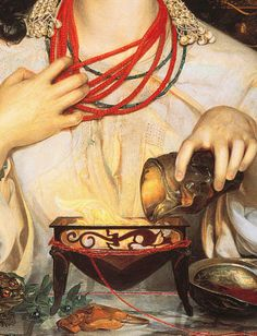 Frederick Sandys, Medea (detail), 1868  witchcraft is all about clutching gestures at your neck and burning mysterious substances over sing...