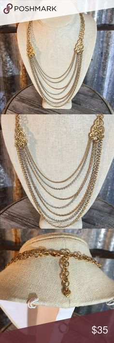 """new Listing Brighton Statement Necklace Beautiful Brighton silver & gold tone statement necklace in good condition. Make a statement wearing this multi colored silver & gold necklace. Necklace is 19""""-21"""" adjustable and comes with large Brighton tin in picture. Thanks for looking.❤️❤️❤️ Brighton Jewelry Necklaces"""
