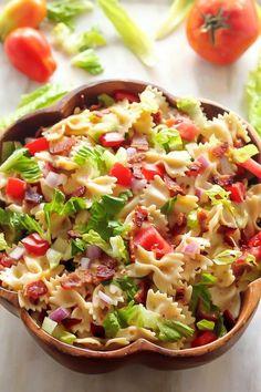 Vynikající oběd za 20 minut z jedné pánve Blt Pasta Salads, Summer Pasta Salad, Easy Pasta Salad, Pasta Salad Recipes, Summer Salads, Macaroni Salads, Healthy Diet Recipes, Cooking Recipes, Veggie Recipes