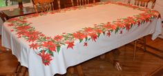 Large Christmas Tablecloth with Poinsettias -Vintage - 60 X 95 Inches - Cotton - NC - pinned by pin4etsy.com