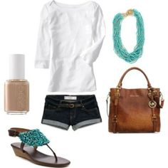 love the shoes, the necklace, the MK bag...and I always wear a casual white tee with jeans....perfect