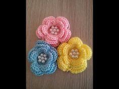 No 23# kwiatek z perełkami na szydełku - flower with perls on crochet - YouTube