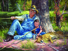 This is a 300 piece jigsaw puzzle of a grandpa, grandson and dog fishing and napping under a tree. Not Bitin' 300 Piece Jigsaw Puzzle by SunsOut - Sunsout Puzzles, Cowboy Art, Mosaic Diy, Cross Paintings, Vintage Paintings, Animal Paintings, Puzzles For Kids, Artist Gallery, Old West