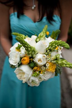 white, green & yellow bouquet