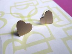 Heart Studs Smooth shaped bronze or brass stud by VirginiaWynne