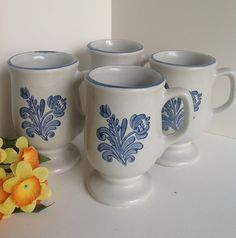 4 Vintage PFALTZGRAFF YORKTOWNE Footed Mugs with Blue Trim  - Gray with Blue Floral Stoneware Cups by AnniesOldStuff on Etsy. $14.50.   AnniesOldStuff.etsy.com