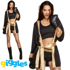 Fever Knockout Boxer Costume Womens Ladies Sexy Boxing Robe Fancy Dress Outfit in Clothes, Shoes & Accessories, Fancy Dress & Period Costume, Fancy Dress | eBay!