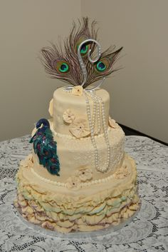 Amazing Air Brushed Layers and Peacock Bring Color to this French Vanilla Vintage Wedding Cake