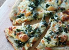 Roasted Garlic and Spinach White Pizza