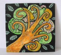 FUNKELBÄUMCHEN Nr. 13 von Herbivore11 Unikat Minibild Inchie Baum Bäume Kunst