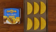 Take your Ortega Hard Taco Shells to the next level by making these Taco Seasoned Shells for your Cinco de Mayo taco bar this year! They're quick and easy. 1) Spray both sides of Ortega Hard Taco Shells with cooking spray. 2) Pour packet of Ortega Taco Seasoning onto plate. 3) Dip both sides in Ortega Taco Seasoning, shaking off excess. 4) Pop shells into a 350F oven for 1-2 minutes. Mexican Dishes, Mexican Food Recipes, Vegan Recipes, Cooking Recipes, Hard Shell Tacos, Buffalo Chicken Tacos, Taco Meal, Nibbles For Party, Cinco De Mayo