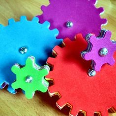 Colorful gears made from craft foam - directions from Instructables. Must make some of these for Workshop Of Wonders VBS! #firstpresorangeburgvbs