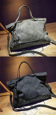 92cf977a205a Jahrgang Leder Nieten Schultertasche Messenger Bag Handtasche  Motorradtasche  bag  Rivet  Handbag  cheaphandbags · Fashion HandbagsPrada  ...