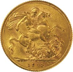 1918 Gold Sovereign : George V St George Bombay / India Mint