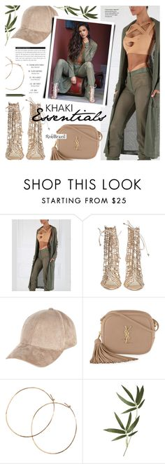 """""""Khaki Essentials"""" by noviii ❤ liked on Polyvore featuring Sophia Webster, River Island, Yves Saint Laurent, Jennifer Creel, Crate and Barrel, BoConcept, Urban Decay and rickibrazil"""