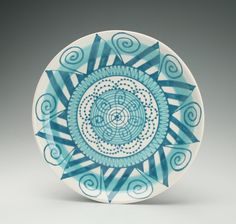 Mandala Dinner Plate with Light and Dark Teal Blue and White Hand Painted Bohemian Dinnerware Dark Teal, Teal Blue, Blue And White, Decorative Items, Decorative Bowls, Paint Your Own Pottery, Sea Colour, Ceramic Painting, Porcelain Ceramics