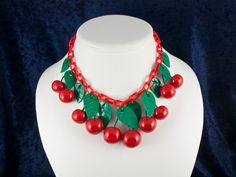 Red Cherry Necklace Bakelite Inspired by MelodyODesigns on Etsy