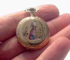 Antique 18k zlaté kapesní hodinky smalt diamanty
