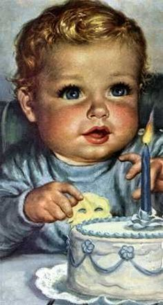 Known for her wide-eyed, rosy-cheeked images of babies. Some of the best illustrations of babies produced during the first half of the century were created by Charlotte Becker. Vintage Baby Pictures, Images Vintage, Baby Images, Vintage Cards, One Year Old Baby, Baby Illustration, Vintage Birthday Cards, Baby Kind, Picture Collection