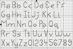 Free Cross Stitch and Back Stitch Alphabets - Free Letter Charts and Graphs: Free Four Stitch High Back Stitch Pattern With Alphabet and Numbers