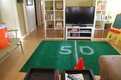 DIY Super Bowl Sideline rug is a fun conversation piece for your Super Bowl party! --> http://blog.hgtvgardens.com/home-turf-diy-super-bowl-sidelines-are-a-game-changer/?soc=pinterest