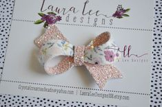 Discount code HAISLEY  Athena Style Bow || Pink Floral Double Sided Bow