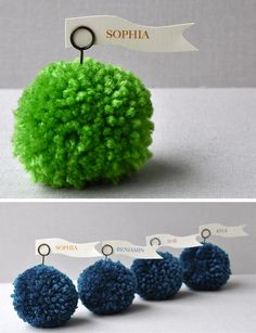 love me some pom-poms. Wedding Venue Decorations, Christmas Table Decorations, Craft Stick Crafts, Easy Crafts, 3d Craft, Creative Party Ideas, How To Make A Pom Pom, Colorful Party, Wedding Table Settings