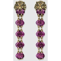 Gucci Lion Head Earrings With Crystals ($1,035) ❤ liked on Polyvore featuring jewelry, earrings, silver & fashion jewelry, gucci jewellery, purple jewelry, chain earrings, purple earrings and purple swarovski crystal earrings