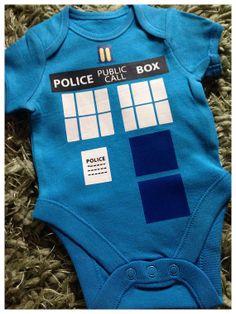 Blue DR Who Tardis Design Bodysuit Onesie by Babytagclothes, £7.99