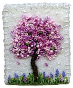 paisagens bordadas por Kirsten Chursinoff - violeta linda árvore florida e colorida de lavanda