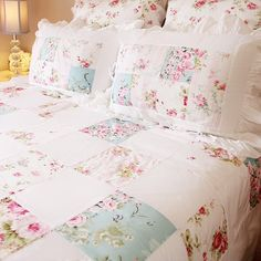 Patchwork Applique Floral Rose Shabby Chic Bedding Ruffled Pillow Sham