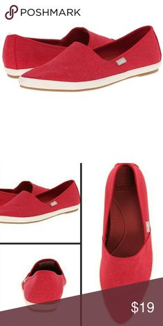 Sanuk Red Canvas Flats New with tags. So cute and perfect for spring! Enjoy the incredibly comfortable insole of Sanuk! These pointed toe flats are a beautiful bright red canvas. They looks awesome with jeans and a t-shirt. Sanuk Shoes Flats & Loafers