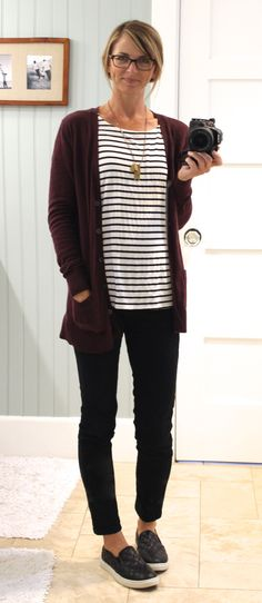 plum cardigan, striped shirt, black skinny jeans, black quilted slip-ons