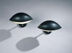 Pair of Matte Black Lacquered Aluminium 'Oeil' Wall Lights by Serge Mouille   Rose Uniacke