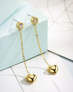 VIPme (VIPSHOP Global) - NEOGLORY Gold Heart Cubic Zirconia Inside Out Long Drop Earrings - AdoreWe.com