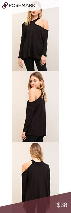 🆕All I Half One Cold Shoulder Top - Black Stepping' up that casual wear game with the All I Half Black One Cold Shoulder Top! Features long sleeves, waffle knit texture, one open shoulder and relax fit. 🔹Also available in White and Pink🔹 likeNarly Tops