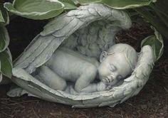 Sleeping Baby In Angel Wings Garden Statue Miscarriage Memorial Figure – Beattitudes Religious Gifts