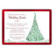 Whirled Holly Christmas Invitations