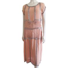 Beaded Flapper Dress Vintage 1920s Peach Silk Chiffon Tabard Spiderweb Designs Was $525 - Now $225 http://www.rubylane.com/item/676693-CLO166/Beaded-Flapper-Dress-Vintage-1920s-Peach