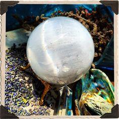SELENITE SPHERE Large Crystal. For Full Moon Magick, Goddess & Cleansing…