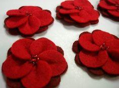 Set of 6pcs  handmade felt flower  red M by CocoBella84 on Etsy