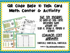 QR Code Math Center and Activity: Base 10 Blocks (Common C Activity Centers, Math Centers, Teacher Observation, Library Book Displays, Math Classroom, Maths, Book Trailers, Wedding Quotes, Qr Codes