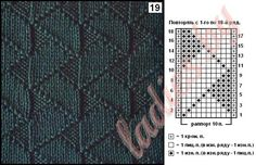 "Схема узора 19 ""Широкий ленточный зигзаг"" спицами Mens Scarf Knitting Pattern, Lace Knitting Patterns, Knitting Stiches, Knitting Charts, Dress Sewing Patterns, Loom Knitting, Knitting Designs, Knitting Needles, Hand Knitting"