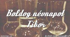 Boldog névnapot Tibor - pálinkás képeslap Name Day, Alcoholic Drinks, Wine, Birthday, Glass, Birthdays, Drinkware, Saint Name Day, Corning Glass