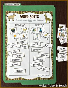 This is a visual example of a hands-on worksheet. This would be a good table group activity to get students working with certain word sorts. This table can be modified for whatever words you're working with. Reading Tutoring, Reading Intervention, Teaching Reading, Teaching Ideas, Soft G Words, Hard Words, Spelling Activities, Sorting Activities, J Sound