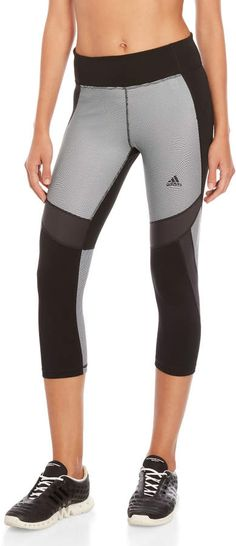 Adidas D2M Stripe Color Block Capri Leggings